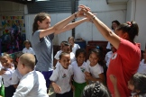 "Lauren singing ""London Bridges"" with students at La Nicaraguita."