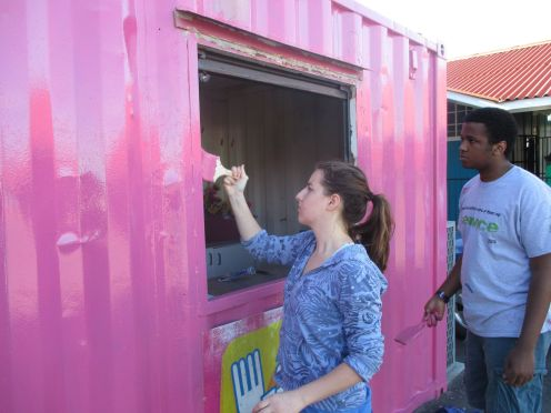 Painting containers at Eldene Primary School.