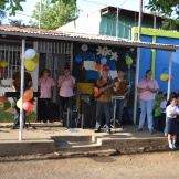 The band Hijos del Sol played for the school's birthday celebration.