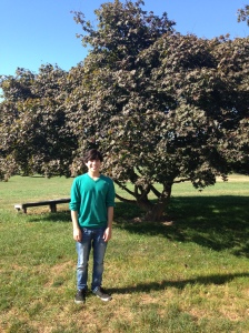 teenage boy standing in grassy area. large tree and bench are in the background