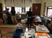 classroom full of donations